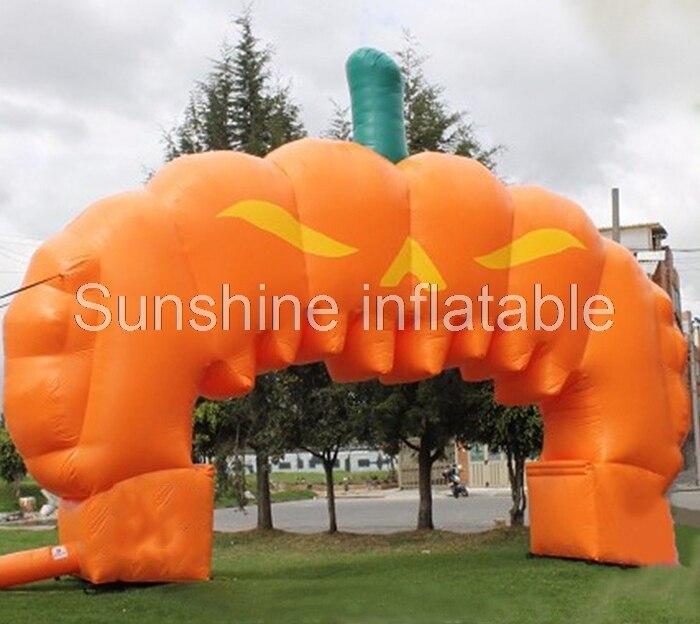 Arc gonflable géant de décoration extérieure d'arc de citrouille gonflable d'arc de halloween pour promotionnel