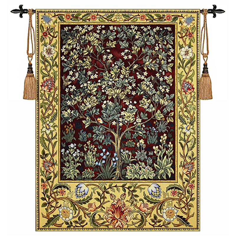 William Morris-albero-rosso Extra Large 197X139 cm arazzo Arte della parete appeso Casa decorativo tessuto Jacquard prodotti H110