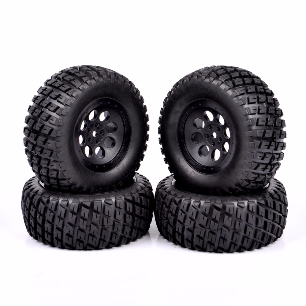 все цены на 12mm Hex 1/10 Short Course Truck Tires for RC TRAXXAS SLASH HPI Wheels Tires Accessories онлайн
