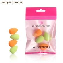 купить UNIQUE COLORS 4Pcs  Makeup Sponge  Mini Sponge Cosmetic Foundation Puff Beauty Soft Waterdrop Shape Powder Facial Makeup Tool дешево