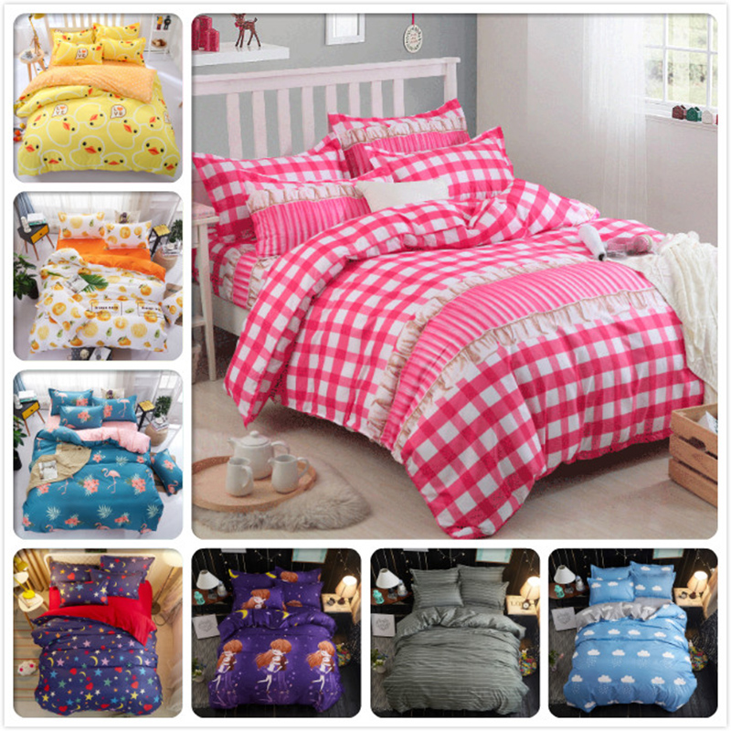 4pcs Set Bedclothes Home Textiles Bed Sheet Duvet Cover Pillow case 1.5m 1.8m 2.0m 2.2m Student Girl Boy Child Bedline Bedspread