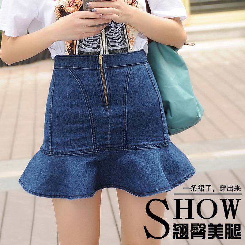 e74596aa36d Korean Style New Summer casual slim denim skirt for Women plus size  wholesale pleated skirt college girls jeans skirt -in Skirts from Women s  Clothing on ...
