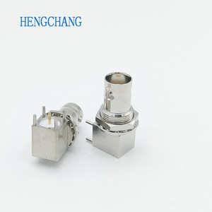Image 3 - 10 Cái/lốc 5pin Đồng Mạ Nickel RF Đồng Trục Nối BNC Cái Ổ Cắm Vách Ngăn Góc PCB Gắn Đầu Nối BNC