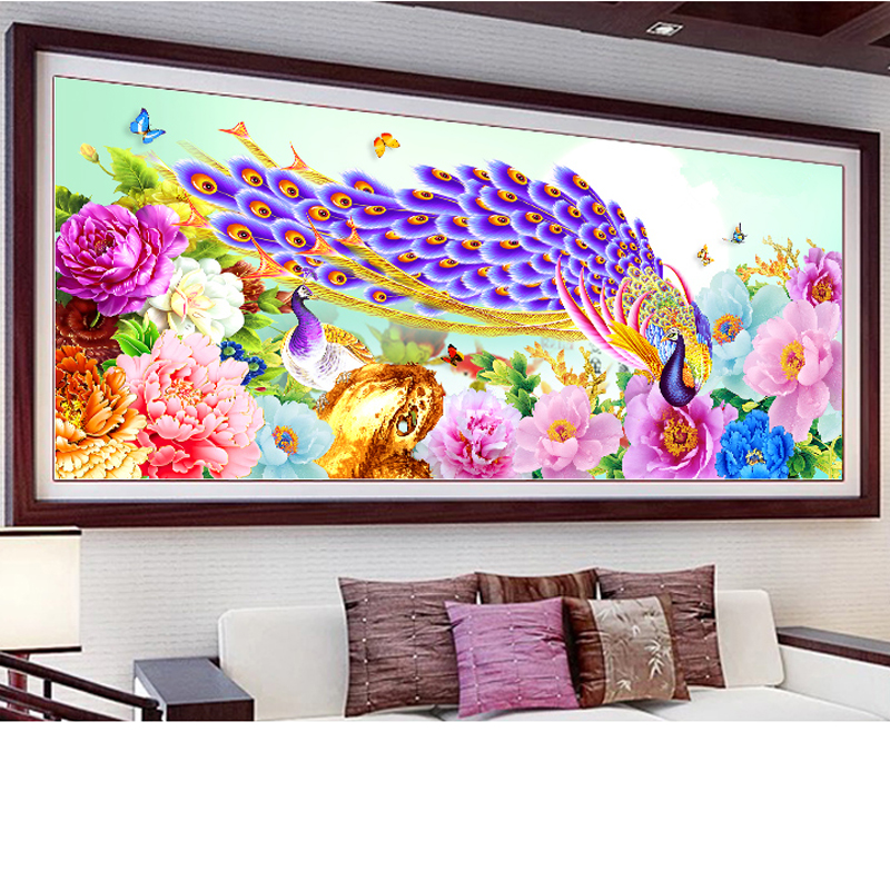 Large size Peacock and flower diamond Embroidery diy painting mosaic diamant 3d cross stitch  H464