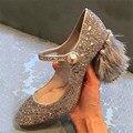 Mary Janes Paillette Women Pumps Designer Fur Heel Wedding Dress Shoes Woman Pearl Decor Zapatos Mujer High Heels Stiletto
