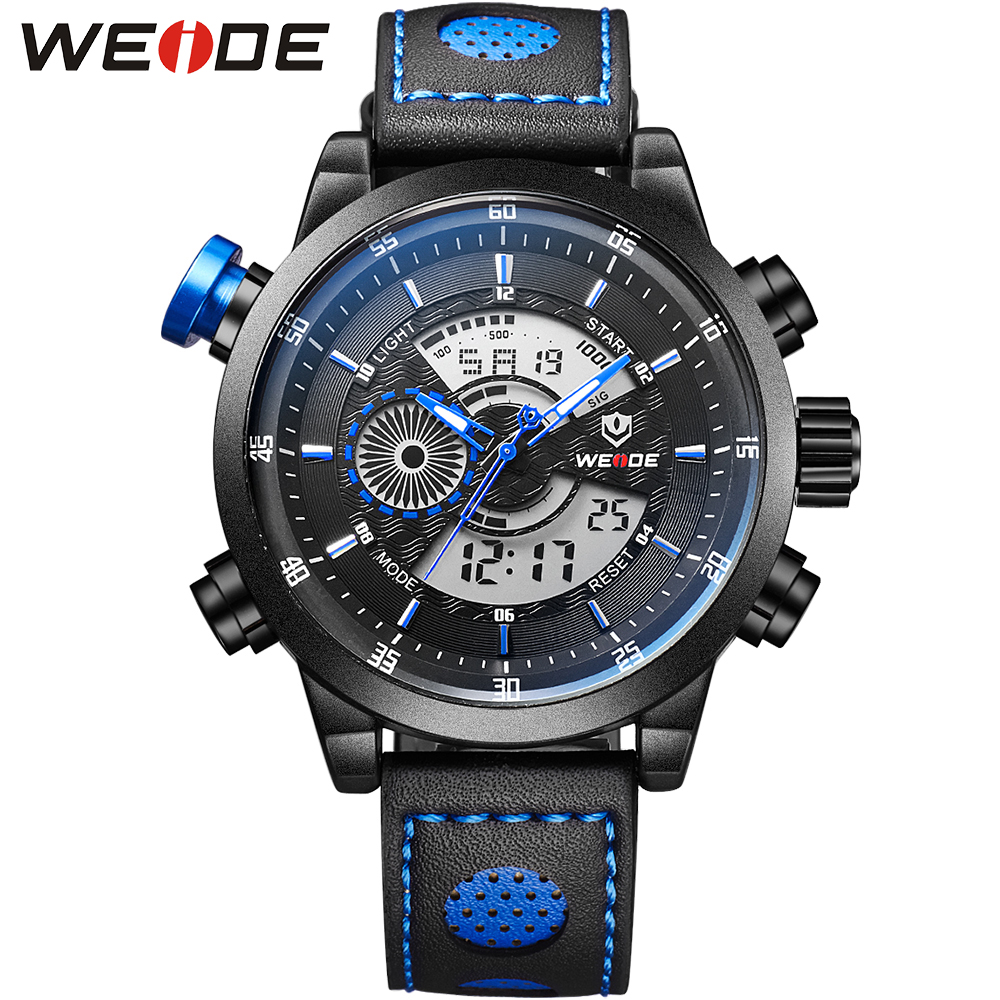 WEIDE Original Brand 30m Waterproof Running Sport Watches For Men Multifunctional Analog Quartz Round Case Wrist Watch weide brand multifunctional men sport watches dual time zone analog display 30m waterproof leather strap 3 small decoration dial