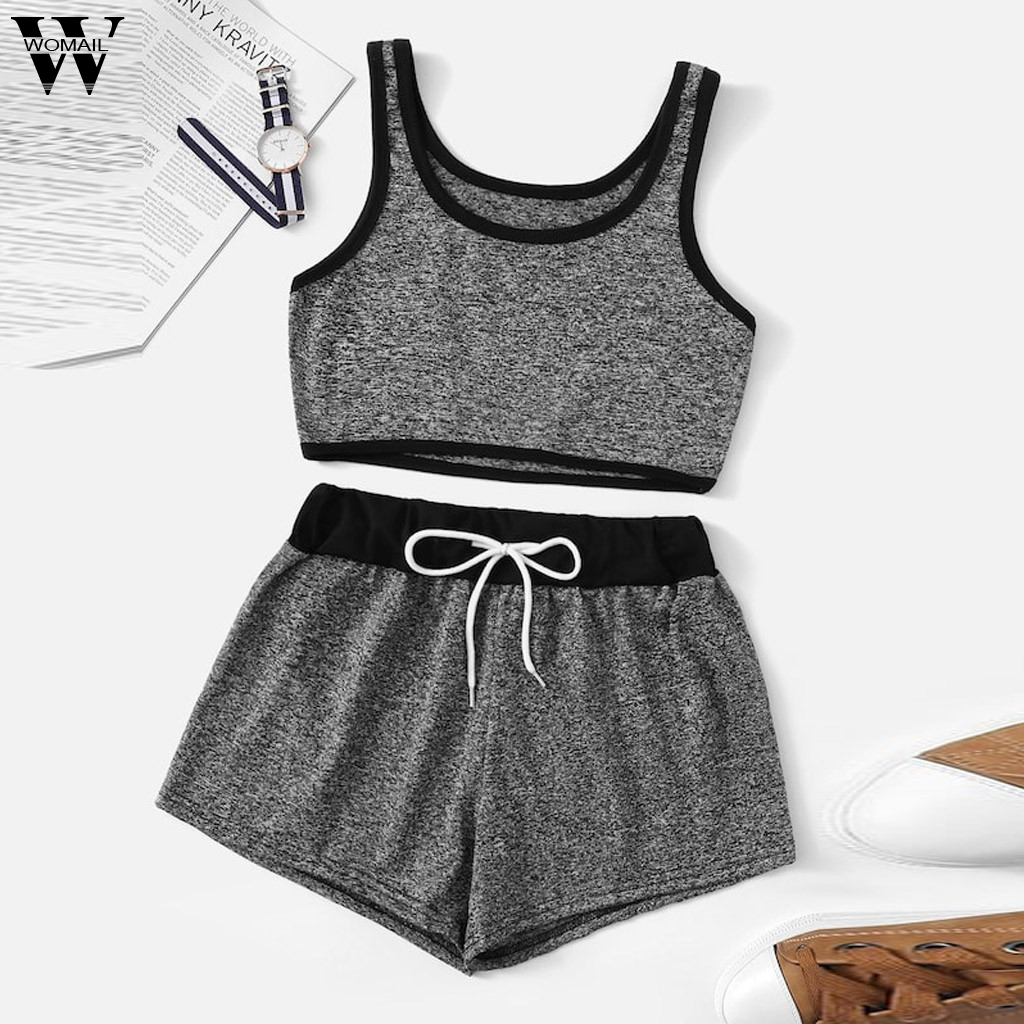 Womail Tracksuit Women Summer 2PCS Sleeveless Solid Tank Top Shorts Sport Drawstring Waist Shorts Set Fashion 2019  A15