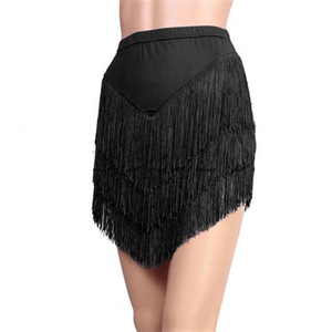 Image 4 - New Latin Dance Skirt Adult Female Tassel Skirt Black/red Irregular Latin Dance Dress Womens Competition/Practice Costumes