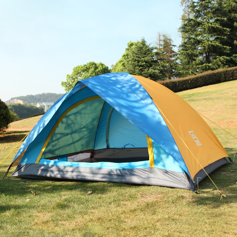1-2 Person Double Layers Outdoor Camping Tent One Bedroom Waterproof Hiking Picnic Adventure Camping Climbing Four-season Tents in one person
