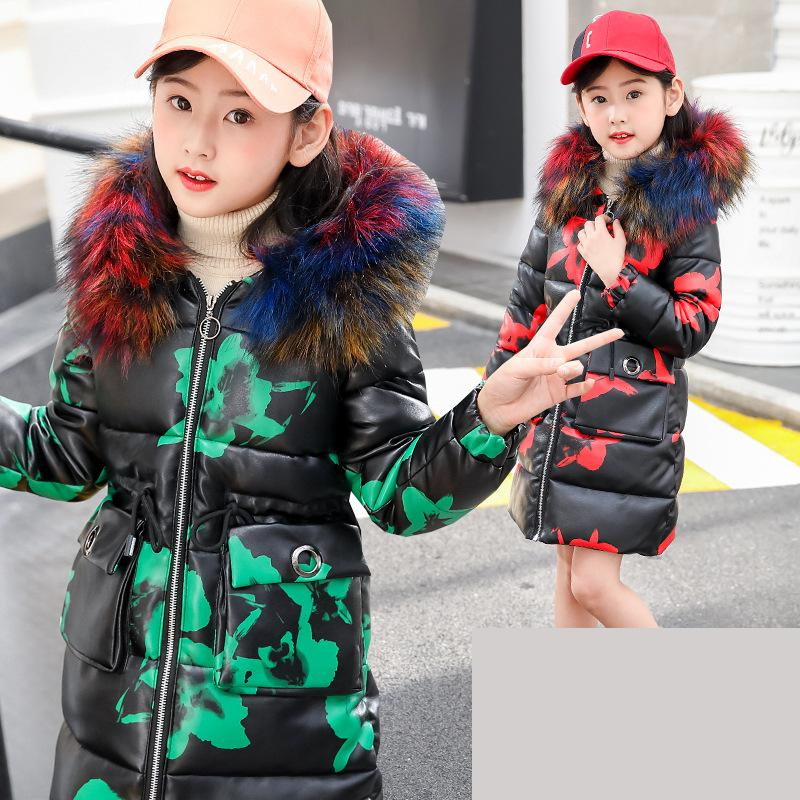 2018 Winter Girls Cotton Down Coat Female Children Long Jacket Warm Thicken Outdoor Hooded Outerwear Student Parkas 10 12 Year 2017 new winter fashion women down jacket hooded thick super warm medium long female coat long sleeve slim big yards parkas nz18