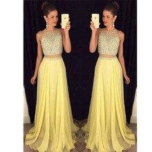 Vestido longo de renda perlen strass partei graduation dresses 2 stück prom kleider gelb lange abend dress