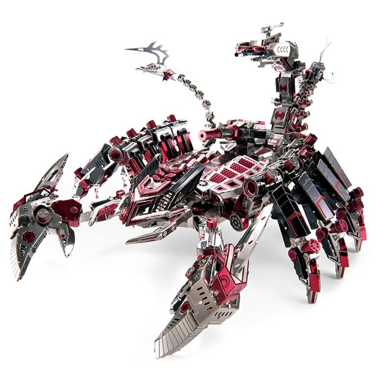 3D Metal Puzzle Figure Toy Red Devil Warrior Large Scorpion Monster DIY Assemble Model Kits Collection Educational Puzzle Toy robotime rocket launcher 3d wooden puzzle environmental assemble toy educational game