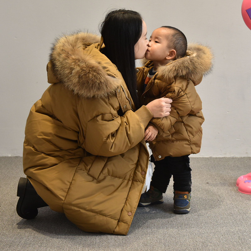 Mother Daughter Winter Dresses Family Matching Down Coat Real Fur Duck Down Mom Son Outfits Mommy Mother and Daughter ClothesMother Daughter Winter Dresses Family Matching Down Coat Real Fur Duck Down Mom Son Outfits Mommy Mother and Daughter Clothes