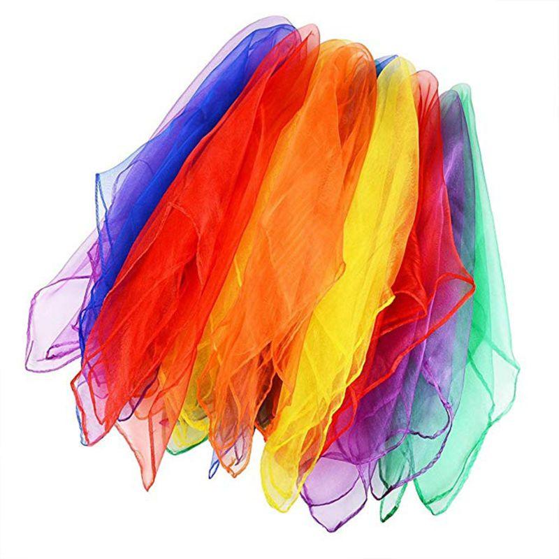 ダンスとジャグリングタオルキャンディカラージムタオルダンス実用的なガーゼスカーフシフォン 6 色