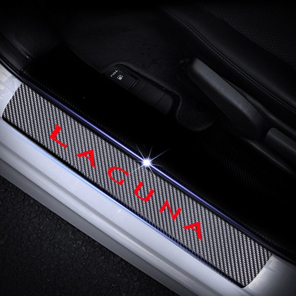 Car Door Sill Protectors 4D Carbon Fiber Vinyl Stickers For RENAULT LAGUNA Door Threshold Plate Sticker Car Accessories 4Pcs in Interior Mouldings from Automobiles Motorcycles
