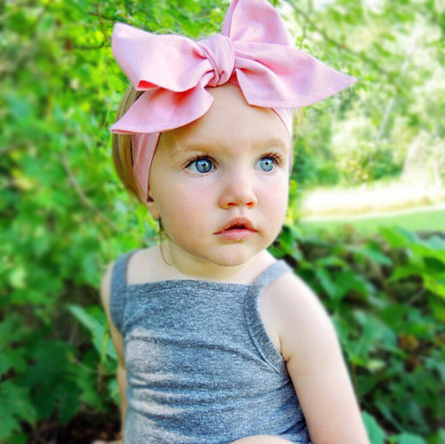 Diy Fashion Kid Child Baby Head Wrap Top Knot Solid Bow Vintage