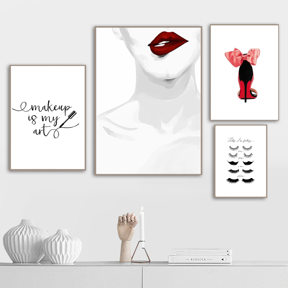 Eyelash Wall Art Canvas Painting Minimalist Nordic Poster Print Fashion Beauty Make Up Wall Pictures for Living Room Unframed in Painting Calligraphy from Home Garden