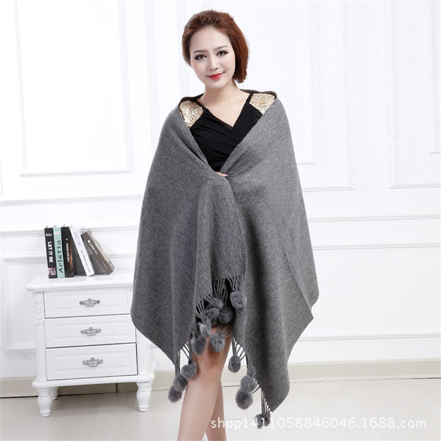 IANLAN Casual Solid Scarf Wrap for Women Ladies 100% Wool Shawls with Real Rabbit Fur Balls Bride Wedding Stole IL00024
