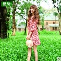 2016 Spring And Summer New Vintage Mori Girl Style Lady Doll Dress Palace Lolita Small Fresh Loose Half Print Peter Pan Collar