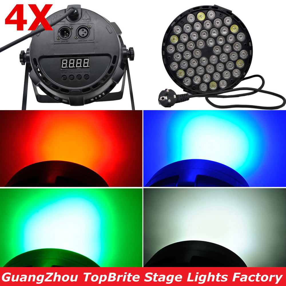 4XLot Free Shipping Led Par Can 54X3W RGBW Led Par Light Strobe DMX Controller For Dj Disco Bar Strobe Dimming Effect Projector free shipping 54x3w flat led par light rgbw best quality par can dmx512 disco dj home party ktv led stage effect projector