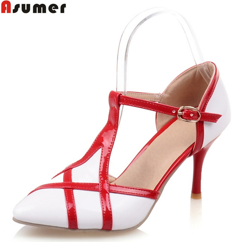 ASUMER plus size 34-46 NEW fashion stiletto high heels T strap women pumps mixed color pointed toe sweet party wedding shoes цена 2017
