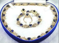 Women S Cospay Women S Hair Full Wigs Pretty Plated 18k Yellow Gold Blue Sapphire Necklace