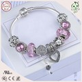 High Quality European Popular Shinning Pink Murano Charm Series  925 Real Silver Charm Bracelet For Girls