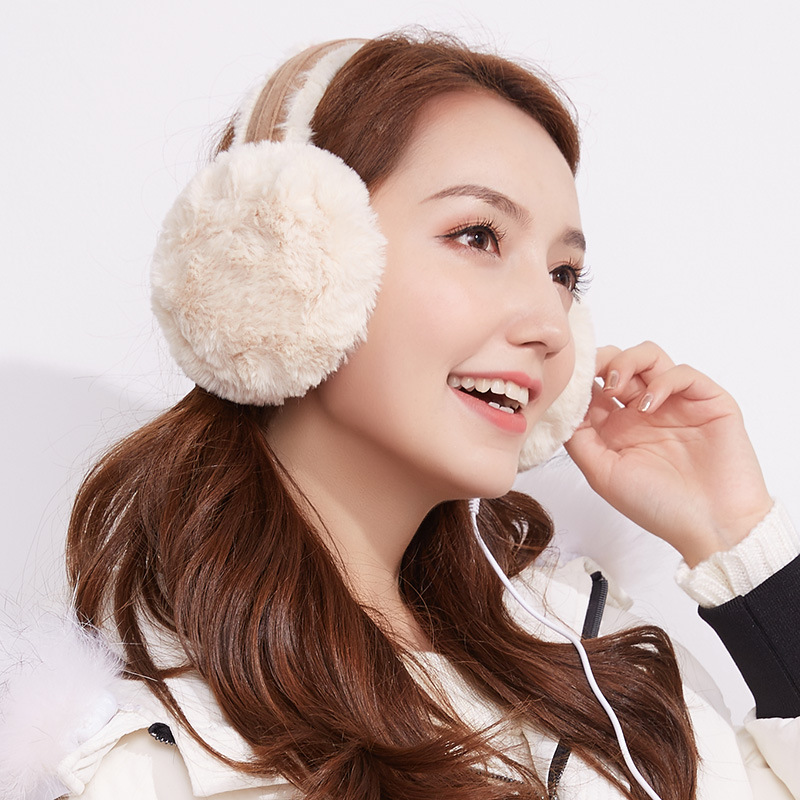 Autumn And Winter Music Earmuffs Plus Velvet Warm Men And Women Outdoor Student Earmuffs Ear Warmer Can Connected Headphones