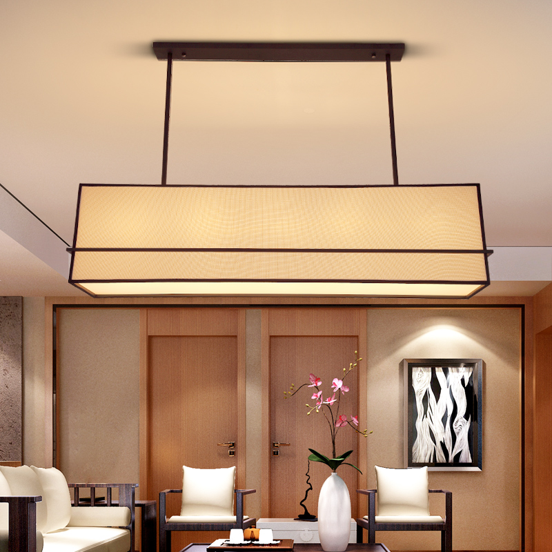 New modern Chinese restaurant Iron Pendant Lights creative rectangle living room fabric  ...