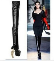 Sestito Woman Sexy Strange Style Fish Bone High Heels Over the knee Boots Ladies Thick Platform Long Boots Girls Round Toe Shoes
