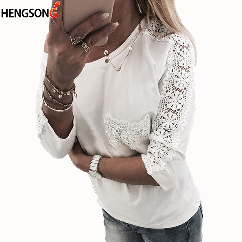 Fashion Women Lace T-shirt 2018 New Spring Summer Long Sleeve Slim Floral Lace Shirt Women White Tops Plus Size Patchwork Tops
