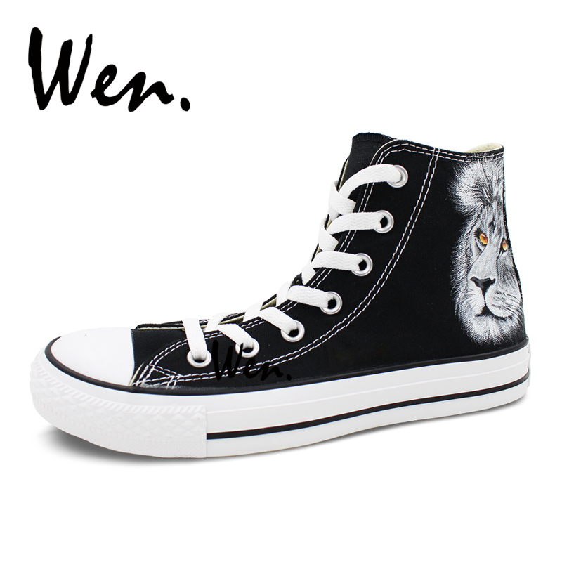 Wen Original Design Custom Black Hand Painted Shoes Lion Men Women s High  Top Canvas Sneakers for Christmas Birthday Gifts-in Skateboarding from  Sports ... cd1dc1559