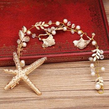 Estrella De mar Tiara Cadena De cabeza como diadema perla joyería accesorios para el cabello nupcial tocado Bandeau Cheveux Femme Bijoux De Tete WIGO0766
