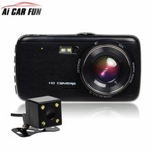 """4.0 """"HD Видеорегистраторы для автомобилей Камера Двойной объектив с LDWS ADAS заднего вида Поддержка спереди расстояние автомобиль предупреждение Full HD 1080 P Автомобильные видеорегистраторы dashcam"""