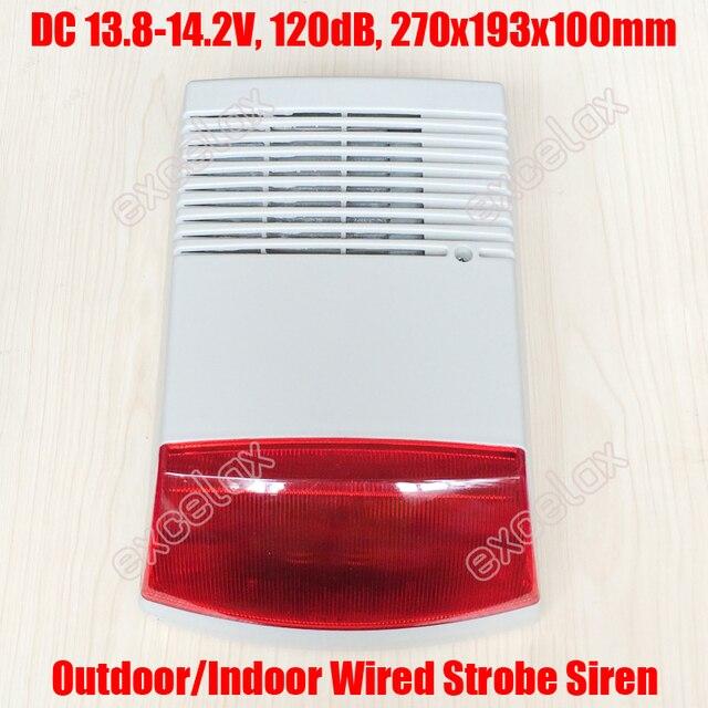 Extérieur étanche filaire sécurité sirène stroboscopique lumière sonore 13.8-14.2 V rouge lampe de poche corne haut-parleur Intrusion sécurité et alarme incendie