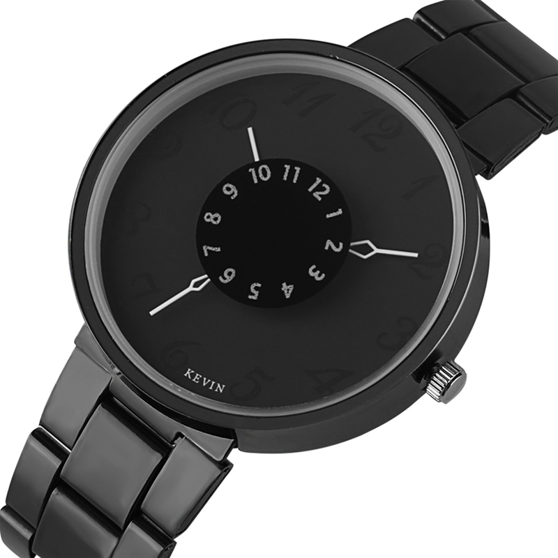 KEVIN Minimalist Brief Watch Men Numerals Turntable Dial Quartz Clock Male Full Stainless Steel Women Wrist Watch Simple Gifts kevin black stainless steel band strap roman numerals quartz women business wrist watch trendy ladies elegant new arrival