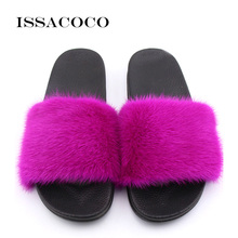 ISSACOCO Women Flat Real Mink Fur Slippers Solid PVC Sole Non-slip Indoor Zapatillas Pantufas
