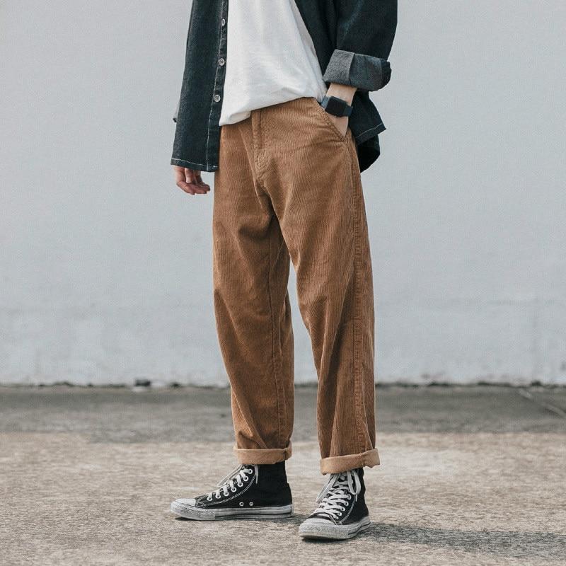 Effizient Männer Hosen Cord Casual Hosen Retro Alte Harlan Hosen Jugend Trend Gerade Streetwear