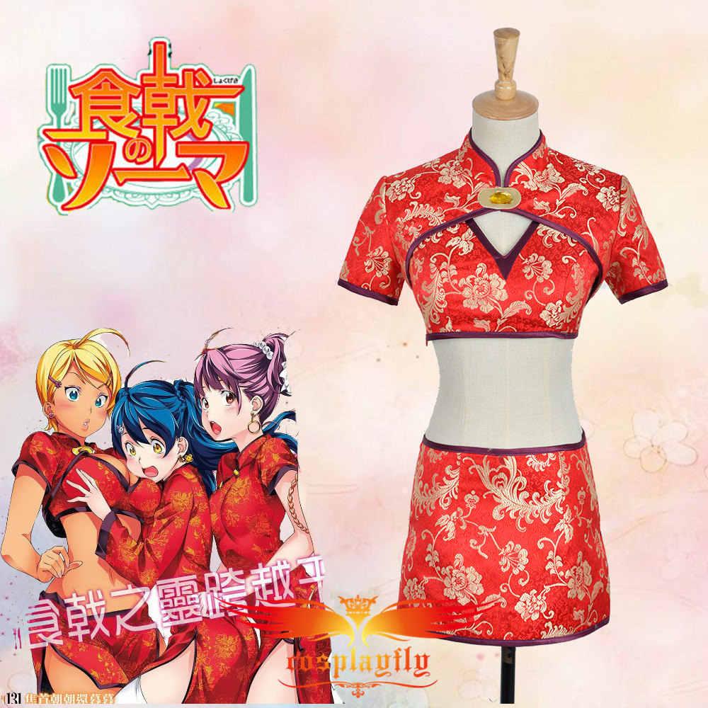Food Wars Ikumi ! food wars: shokugeki no soma meat master ikumi mito cheongsam cos costume  custom two piece red chirpaur clothing for adult