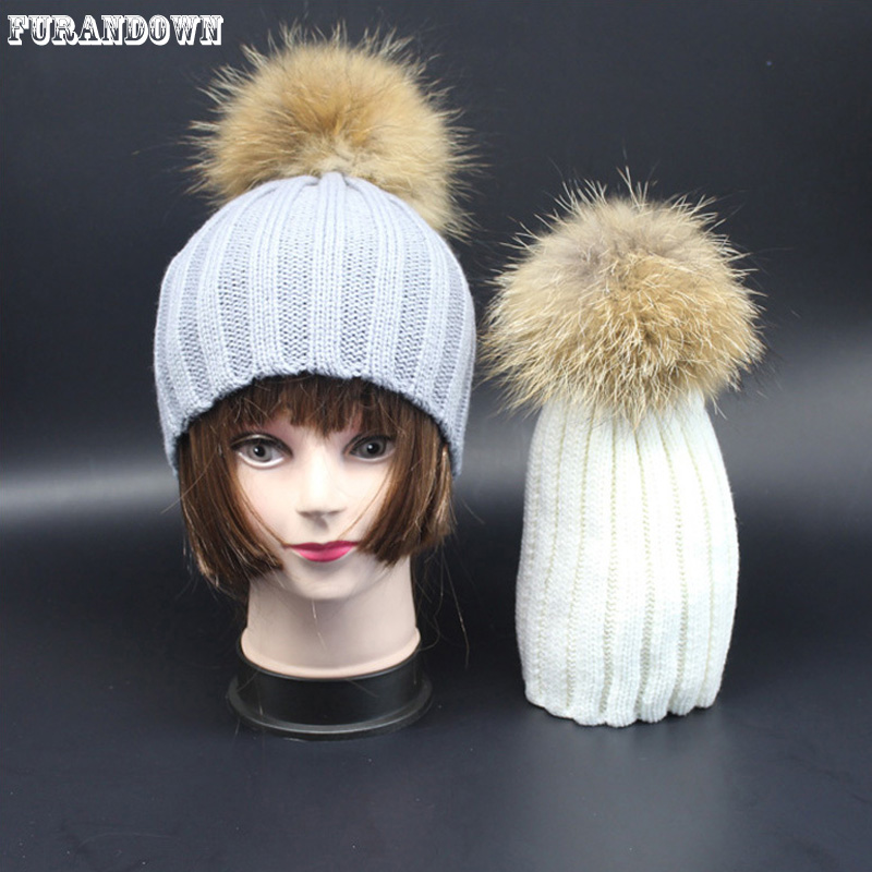 2017 New Fashion Baby Girls Caps Fur Hats For Children 15cm Real Fur Pompom Ball Winter Kids knit Beanie Hat 4pcs new for ball uff bes m18mg noc80b s04g