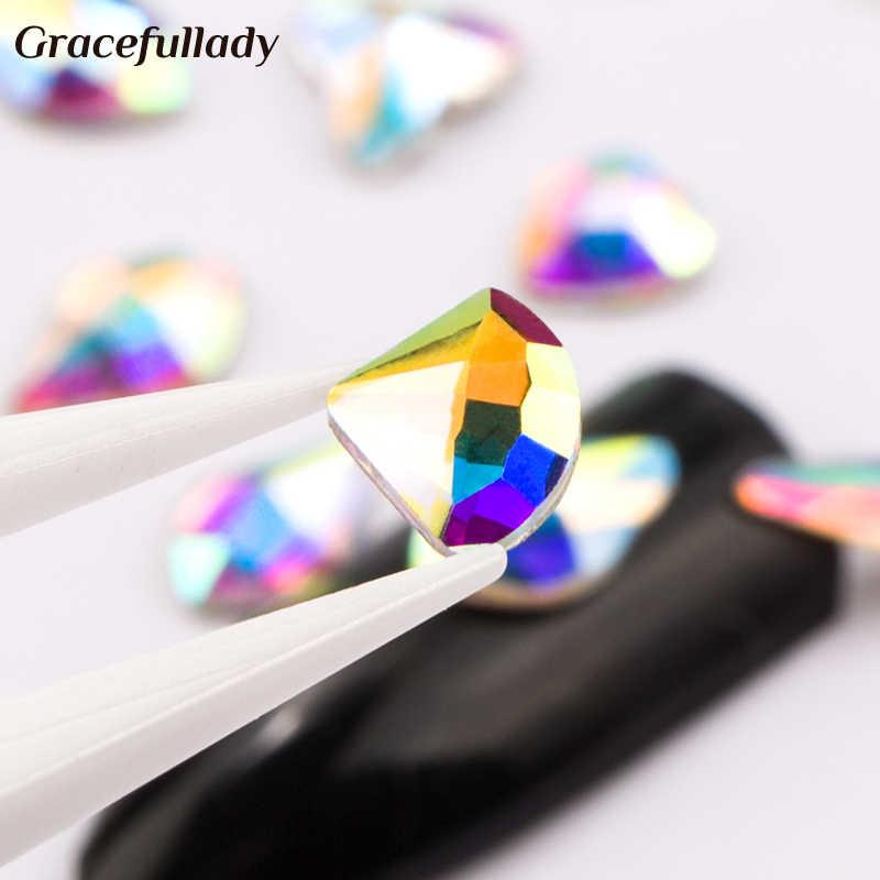 Arte de uñas diamantes de imitación 20 unids/pack forma plana Elongated lágrima rectángulo vidrio llama piedras coloridas para decoración de uñas 3D