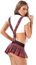 2017 New sexy lingerie hot cute bow tie SM cosplay school uniform women soild bra+Scottish skirt erotic lingerie sexy costumes
