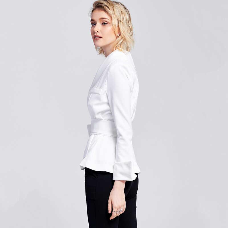 7d231ce12b2d ... White long sleeve asymmetric one shoulder thin blazer for women ladies  stylish sexy OL waist tie ...