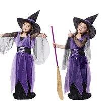 Miúdos das crianças do bebê meninas sexy partido do carnaval de halloween fantasia maxi dress com chapéu de bruxa trajes cosplay criança roupas