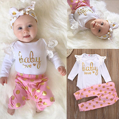 Xmas Baby Girls Infant Newborn Playsuit Romper Tops+Pink Leggings Clothes Outfit Long Sleeve Baby Girl Clothing Sets