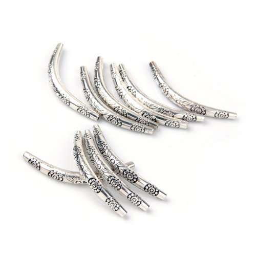 50pcs/set Antique Silver Long Curved Noodle Tube Beads for