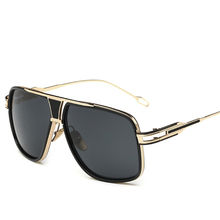Retro Men's Square Sunglasses 2019 Ladies Brand Design Fashion Oversized Gold Al