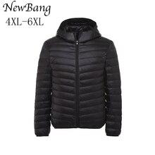 4XL-6XL плюс Для женщин ультра легкий утка Пух куртка Largr Размеры осень-зима с капюшоном Пух пальто с Сумка для переноски