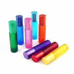 Image 5 - 1 pc 厚い 10 ミリリットルすりガラスロールボトルに天然宝石ローラーボールエッセンシャルオイルバイアル空詰め替え香水ボトル