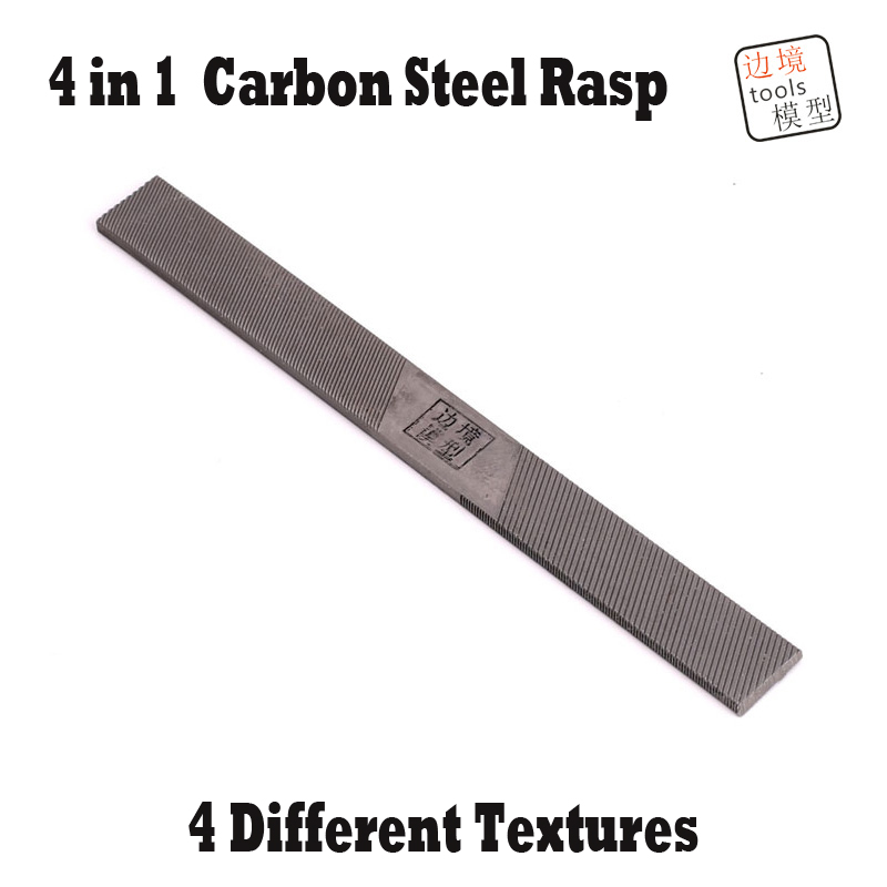 Miniature Brinquedos Model Rasp 4 In 1 Carbon Steel Cutting Polishing File Different Textures Building Hobby Tools 2 in 1 round multifunction graduated cutting cable strippers rasp dremel 2016